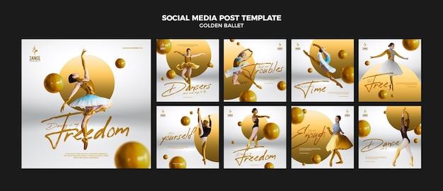Modelo de postagem de balé dourado nas redes sociais