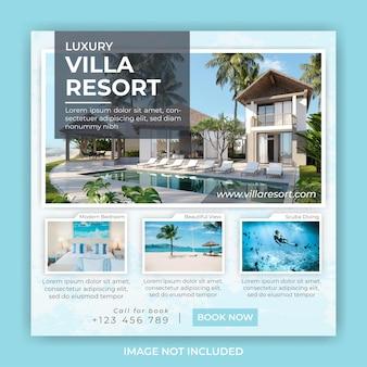 Modelo de postagem de banner quadrado para promoção de hotel e villa resort