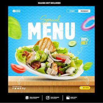 Modelo de postagem de comida deliciosa nas redes sociais