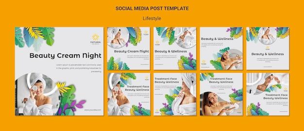 Modelo de postagem de conceito de estilo de vida em mídia social