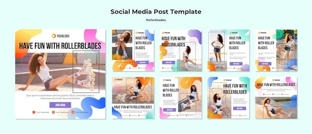 Modelo de postagem de conceito de mídia social para patins