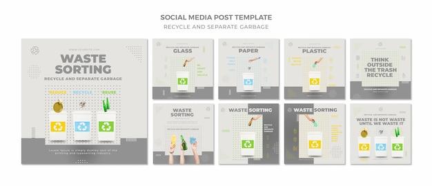 Modelo de postagem de conceito de reciclagem em mídia social