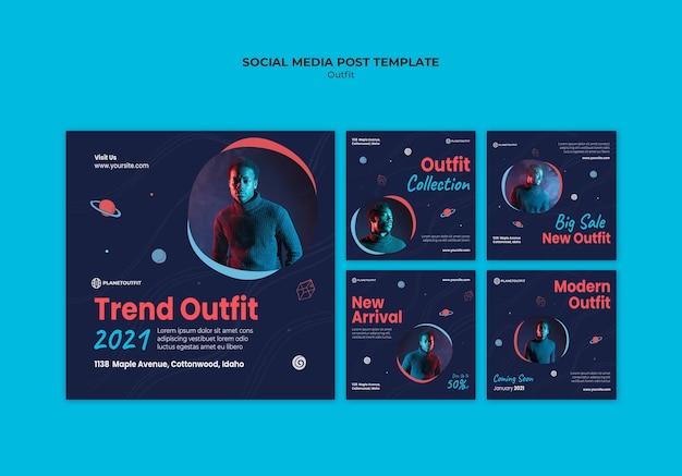 Modelo de postagem de conceito de roupa em mídia social