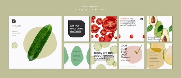 Modelo de postagem de conceito de vegetais em mídia social