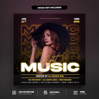 Modelo de postagem de dj music party em mídia social