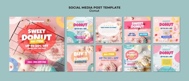 Modelo de postagem de donut em mídia social