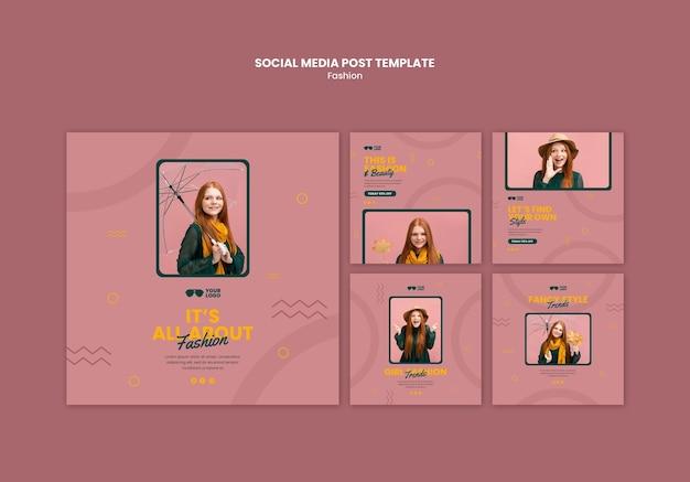 Modelo de postagem de empresa de moda em mídia social