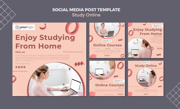 Modelo de postagem de estudo de mídia social online