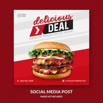 Modelo de postagem de feed de mídia social hamburguer psd premium