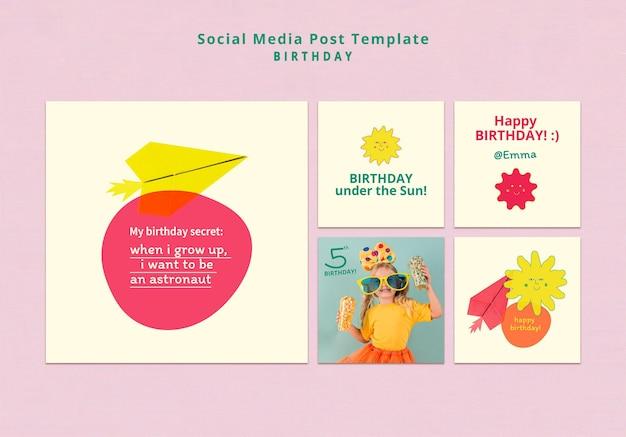 Modelo de postagem de feliz aniversário em mídia social