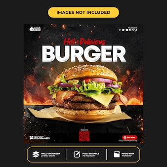 Modelo de postagem de hambúrguer delicioso em mídia social