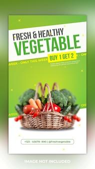 Modelo de postagem de história de vegetais frescos e saudáveis