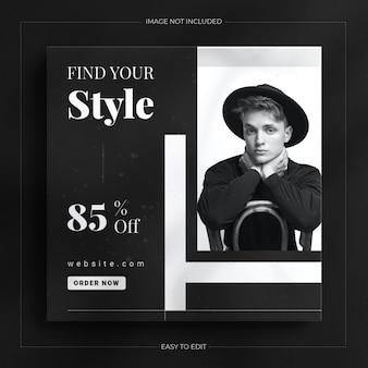 Modelo de postagem de história elegante no instagram com uma maquete dinâmica preta
