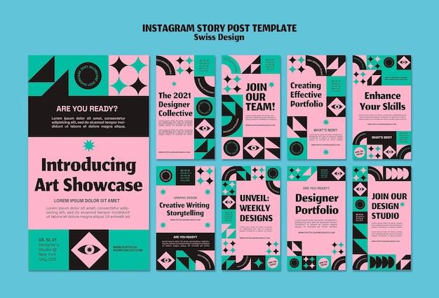 Modelo de postagem de história instagram de design suíço