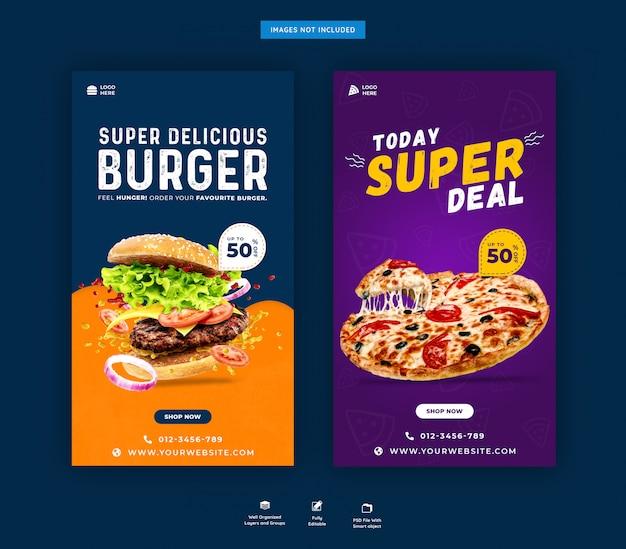 Modelo de postagem de histórias do instagram de fast food psd premium