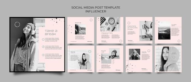 Modelo de postagem de influenciador em mídia social