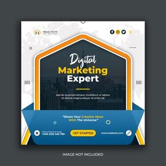 Modelo de postagem de instagram de mídia social corporativa de marketing digital
