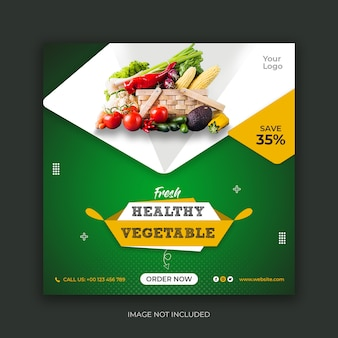 Modelo de postagem de instagram de mídia social de alimentos