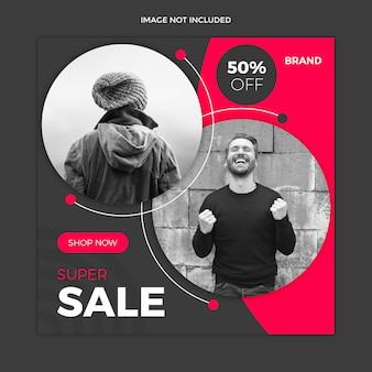 Modelo de postagem de instagram de mídia social de venda preto