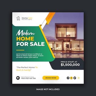 Modelo de postagem de instagram de mídia social para venda de casa moderna