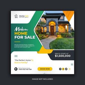 Modelo de postagem de instagram de mídia social para venda de imóveis modernos