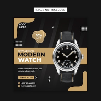 Modelo de postagem de instagram e mídias sociais de relógio moderno
