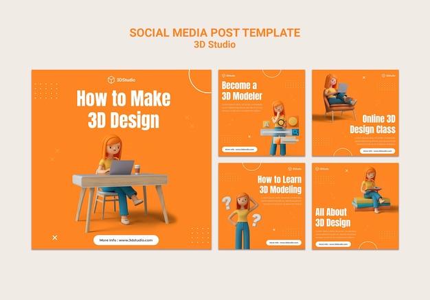 Modelo de postagem de mídia social 3d studio