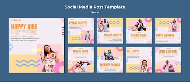 Modelo de postagem de mídia social alegre
