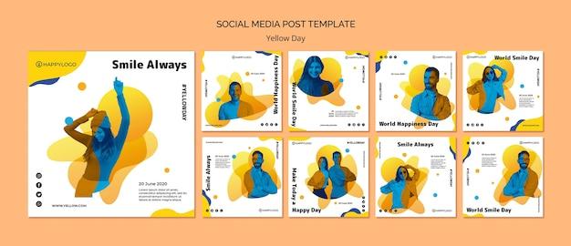 Modelo de postagem de mídia social amarela feliz dia