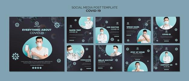Modelo de postagem de mídia social com 19 covid