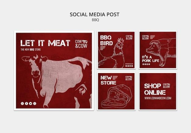 Modelo de postagem de mídia social com churrasco