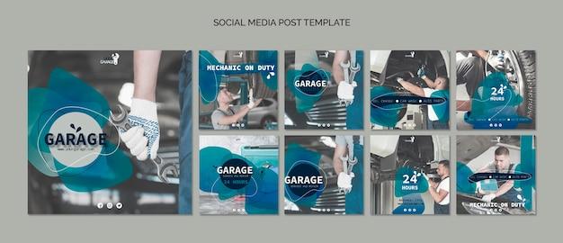 Modelo de postagem de mídia social com mecânico