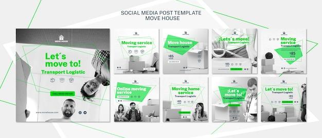 Modelo de postagem de mídia social com serviço de mudança
