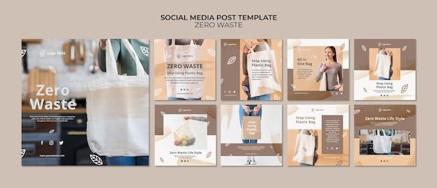 Modelo de postagem de mídia social com zero desperdício