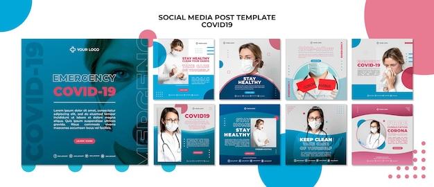 Modelo de postagem de mídia social covid19