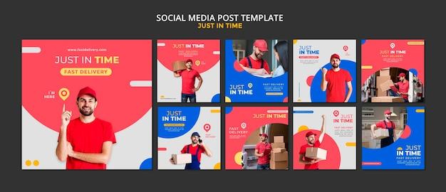 Modelo de postagem de mídia social da empresa de entrega