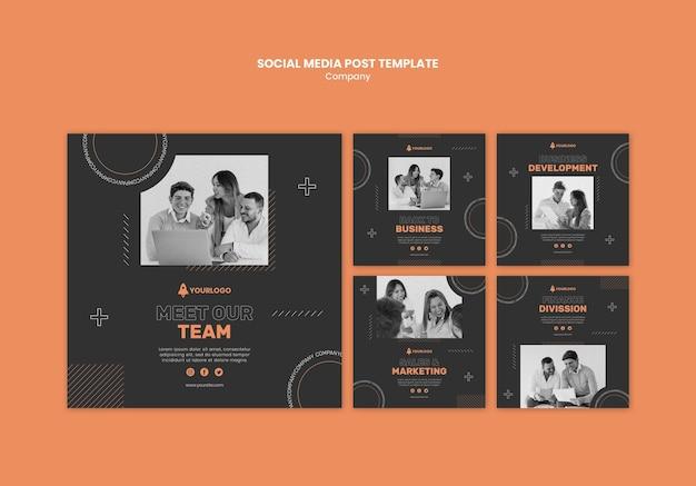 Modelo de postagem de mídia social da empresa