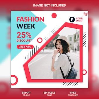 Modelo de postagem de mídia social da moda