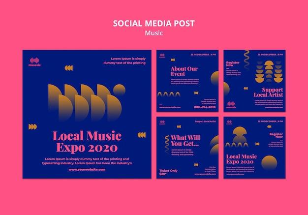 Modelo de postagem de mídia social da music expo