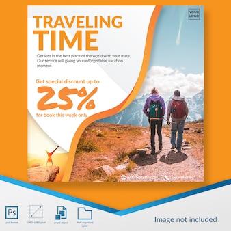 Modelo de postagem de mídia social da oferta com desconto de tempo de viagem