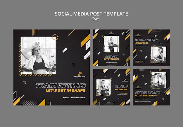 Modelo de postagem de mídia social de academia