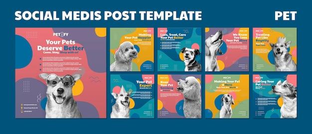 Modelo de postagem de mídia social de animal de estimação fofo