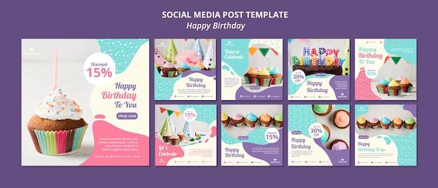 Modelo de postagem de mídia social de aniversário