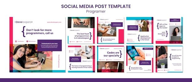 Modelo de postagem de mídia social de anúncio para programador