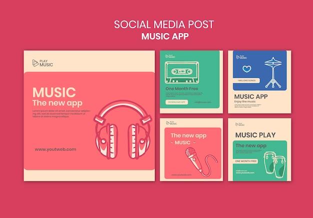 Modelo de postagem de mídia social de aplicativo de música