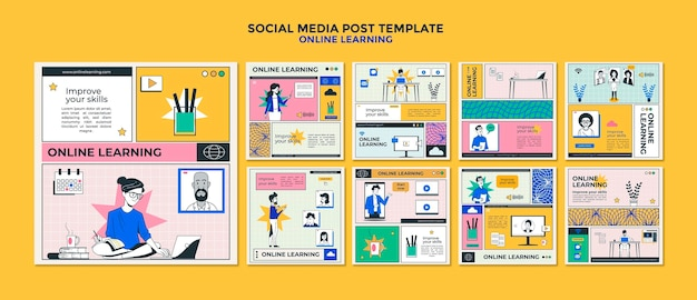 Modelo de postagem de mídia social de aprendizagem online