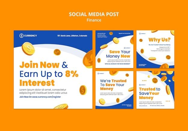Modelo de postagem de mídia social de banco online