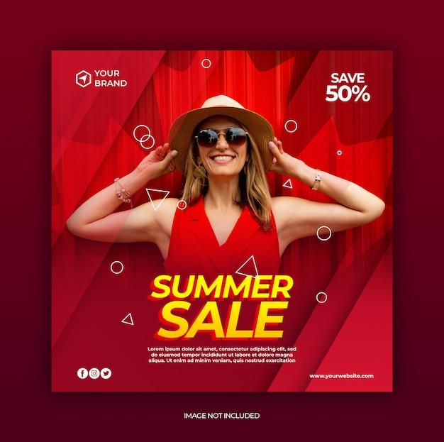 Modelo de postagem de mídia social de banner de venda de moda verão