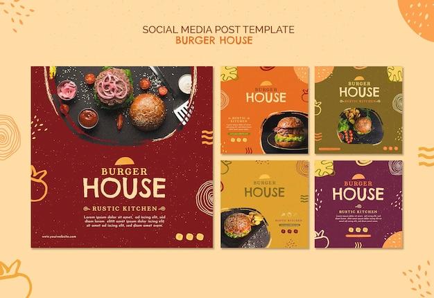 Modelo de postagem de mídia social de burger house