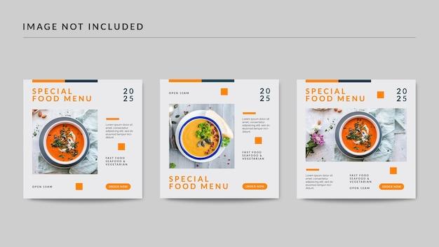 Modelo de postagem de mídia social de cardápio especial de comida